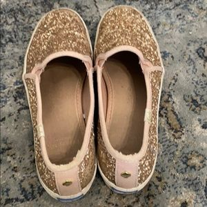 Rose gold pink glitter sneakers keds by Kate spade